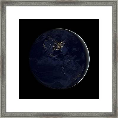 Americas At Night, Satellite Image Framed Print by Science Photo Library