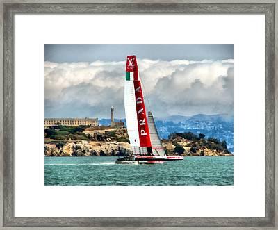 America's Cup And Alcatraz Ll Framed Print
