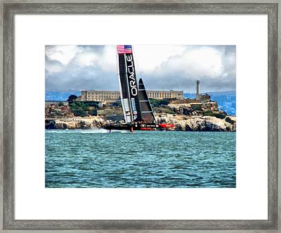 America's Cup And Alcatraz Framed Print by Michelle Calkins