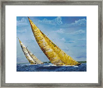 Americas Cup Sailboats Framed Print by Impressionism Modern and Contemporary Art  By Gregory A Page