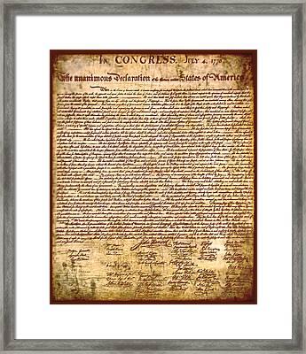 America's Declaration Of Independence  Framed Print by Li   van Saathoff