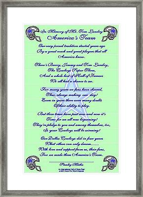 America's Team Poetry Art Poster Framed Print by Stanley Mathis