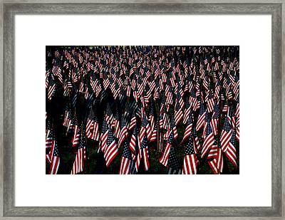 Framed Print featuring the photograph Field Of Flags - Sturbridge Mass. by Jacqueline M Lewis
