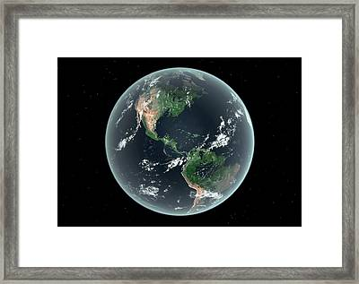 Americas With Sea Level Rise Framed Print