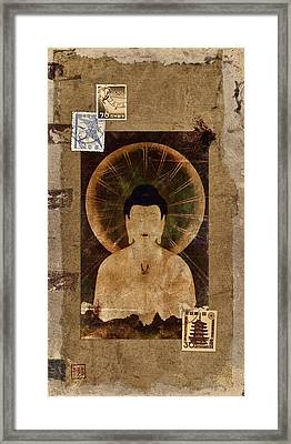 Amida Buddha Postcard Collage Framed Print by Carol Leigh