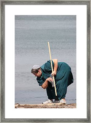 Amish At The Beach Framed Print