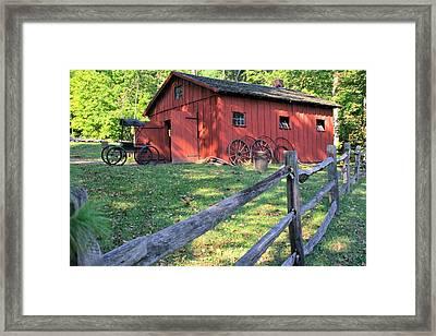 Framed Print featuring the photograph Amish Barn Along A Fenceline by Gordon Elwell