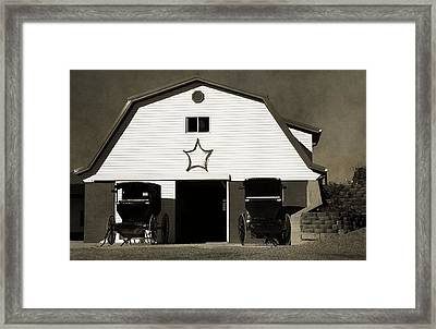 Amish Barn And Buggies Framed Print by Dan Sproul