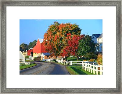 Amish Barn In Autumn Framed Print