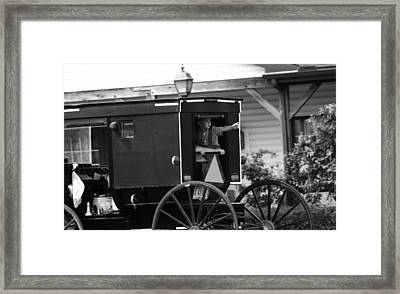 Amish Boy Waving In Horse And Buggy Framed Print