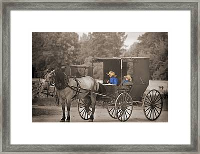 Amish Boys Framed Print by Steven Michael
