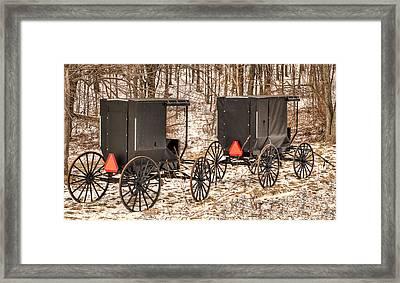 Amish Buggies Framed Print