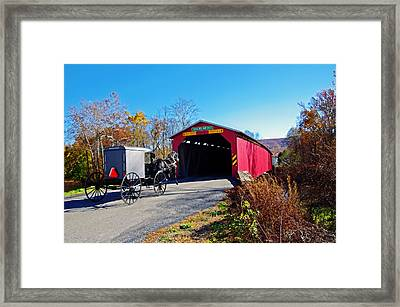 Amish Buggy Crossing Framed Print