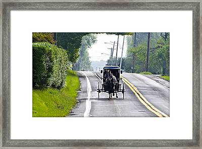 Amish Buggy In Lancaster County Pa. Framed Print