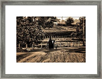Amish Buggy On A Country Road Framed Print by Bill Cannon