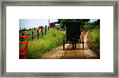 Amish Buggy On Dirt Road Framed Print