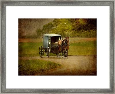 Framed Print featuring the photograph Amish Buggy Ride by Dyle   Warren