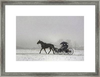 Amish Buggy Ride In The Snow Framed Print by Gene Walls