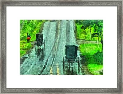 Amish Buggy Traffic Framed Print