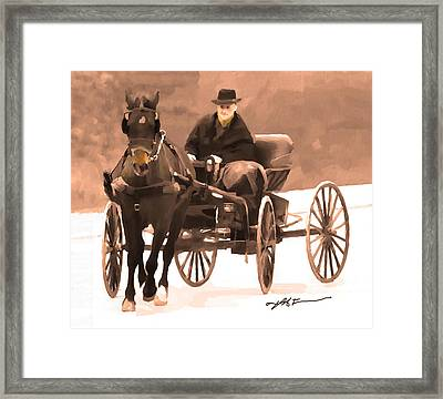 Framed Print featuring the digital art Amish Carriage by Bob Salo