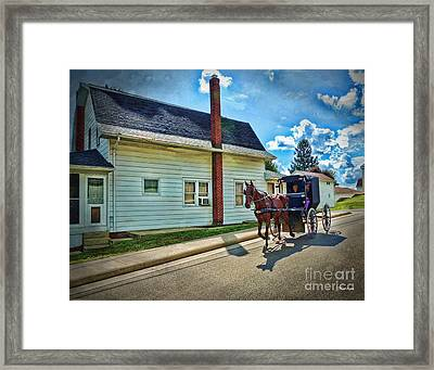 Amish Country Ride Framed Print by Joan  Minchak