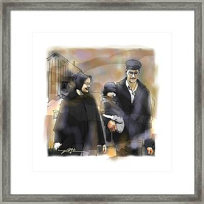 Amish Family Framed Print by Bob Salo