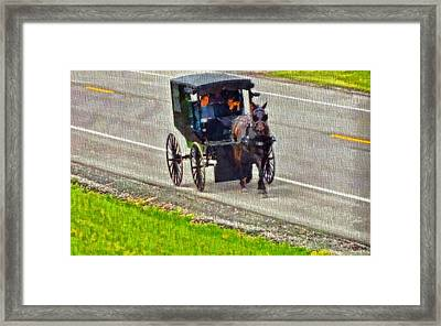 Amish Family In Horse And Buggy Framed Print
