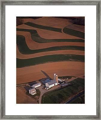Amish Farm And Field Aerial Framed Print by Blair Seitz