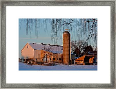 Amish Farm At Turquoise Dusk Framed Print