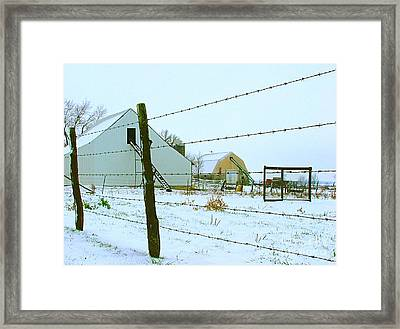 Amish Farm In Winter Framed Print