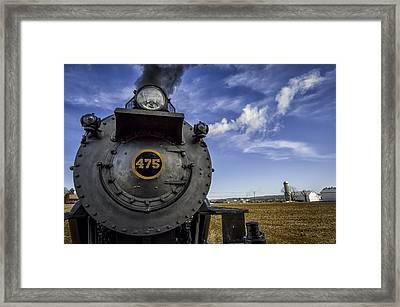 Amish Farmland And Brilliant Blue Sky Frame #475 Steam Engine - Strasburg Rr   02 Framed Print by Mark Serfass