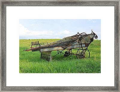 Amish Harvester Framed Print by Joel E Blyler