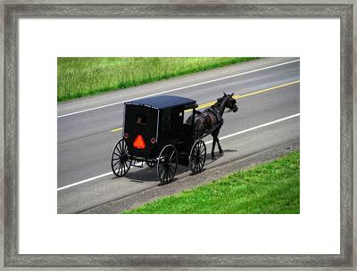 Amish Horse And Buggy In Ohio Framed Print by Dan Sproul