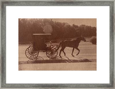 Amish Horse And Carriage Framed Print by Scott Wittenburg