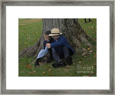 Amish Kids Framed Print by R A W M