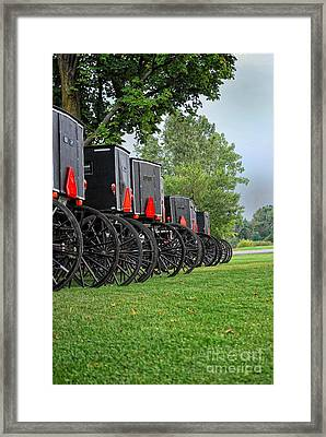 Amish Parking Lot Framed Print