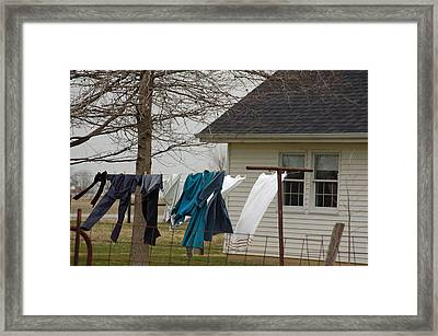 Amish Washday - Allen County Indiana Framed Print