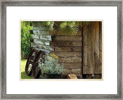 Amish Wood Shed Framed Print by Lena Wilhite