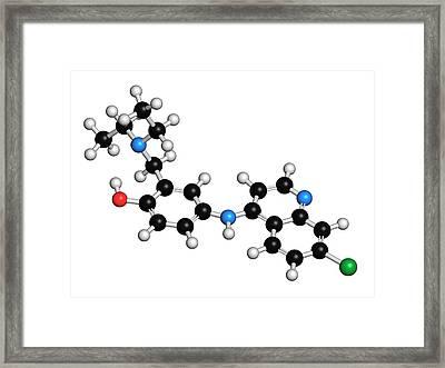 Amodiaquine Anti-malarial Drug Molecule Framed Print by Molekuul