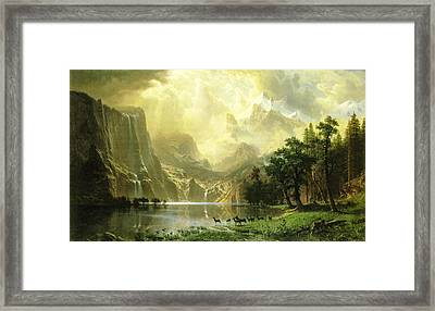 Among The Sierra Nevada Mountains Framed Print by Albert Bierstadt
