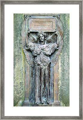 A Cemetery's Amor Caritas Framed Print by Cora Wandel