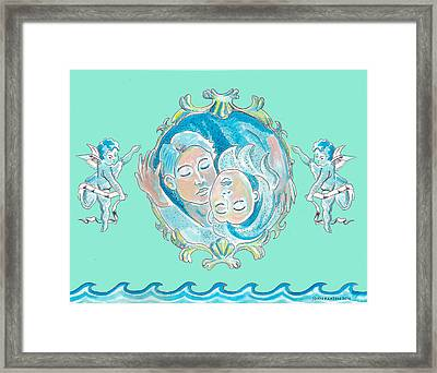 Framed Print featuring the painting Amor In Aqua by John Keaton