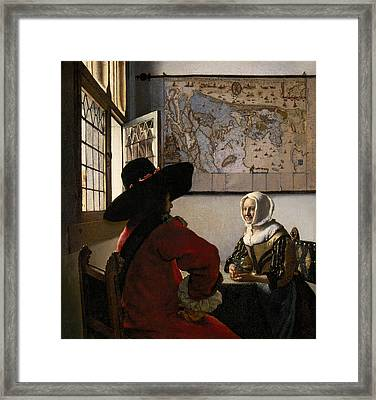 Amorous Couple Framed Print by Jan Vermeer