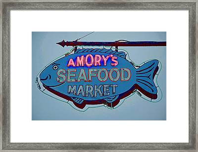 Amory Seafood Sign Framed Print