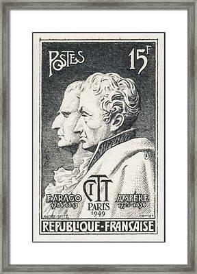 Amp F.arago 1786-1853 1775-1836 Iattc Paris 1949 Stamp Framed Print