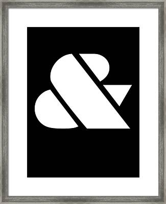 Ampersand Black And White Framed Print by Naxart Studio