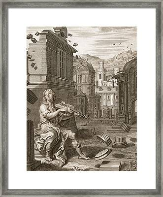 Amphion Builds The Walls Of Thebes Framed Print by Bernard Picart