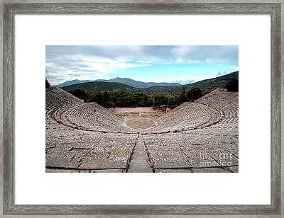 Amphitheatre At Epidaurus 2 Framed Print by Deborah Smolinske