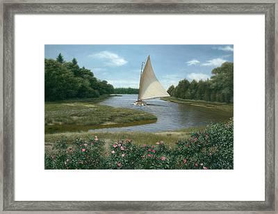 Amrita Island Sail - Cape Cod Framed Print by Julia O'Malley-Keyes