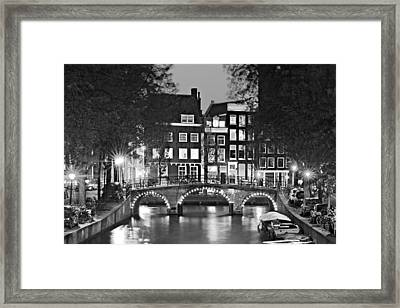 Framed Print featuring the photograph Amsterdam Bridge At Night / Amsterdam by Barry O Carroll
